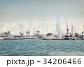Colored Pencil Drawing; Boats on Water 34206466