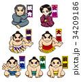 相撲人物セット【名称つき】 34209186
