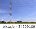 鉄塔 電線 青空の写真 34209189