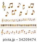 音符と鍵盤セット (セピア調) 34209474