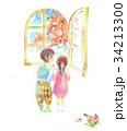 紅葉 窓 子供のイラスト 34213300