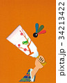 年賀状 貼り絵 羽子板のイラスト 34213422