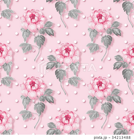 Floral seamless pattern with pink flowersのイラスト素材 [34213488] - PIXTA