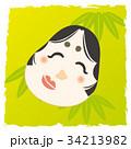背景付きお正月小物イラスト【福笑い】 34213982