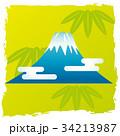 背景付きお正月小物イラスト【富士山】 34213987