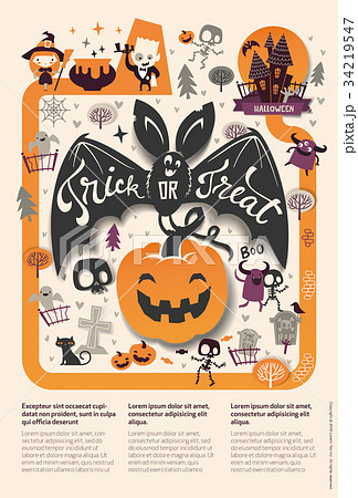 lovely holiday happy halloween flyer template withのイラスト素材