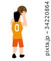 バスケットプレーヤー 後姿 シュート 34220864