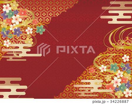 赤と金の和柄の背景素材 34226887