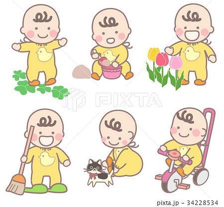 外遊びの乳幼児いろいろのイラスト素材 34228534 Pixta