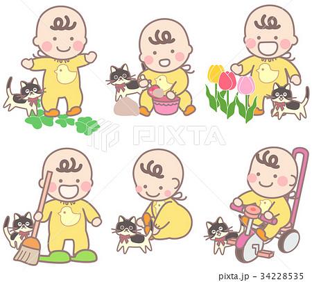 ネコと外遊びの乳幼児いろいろ 34228535