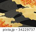 黒い和紙 金箔の雲 流線 紅葉 34229737