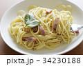 カルボナーラ パスタ スパゲッティ スパゲティ ベーコン イタリアン バジル 麺類 フード おいしい 34230188