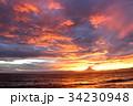 富士山 夕焼け 海の写真 34230948