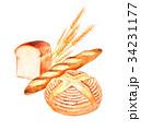 色鉛筆画 セット パンのイラスト 34231177