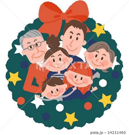 クリスマスリースと家族 34231460