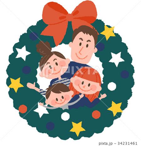 クリスマスリースと家族 34231461