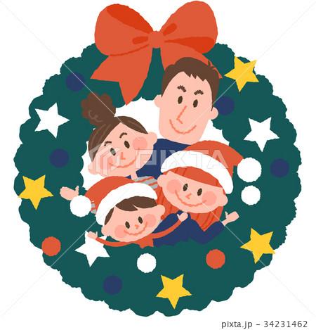 クリスマスリースと家族 34231462