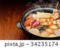 注意)湯気はレタッチ合成です。「土鍋で冬の定番料理おでん」イメージ。大根、玉子、さつま揚げ、牛すじ。 34235174