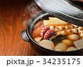 注意)湯気はレタッチ合成です。「土鍋で冬の定番料理おでん」イメージ。大根、玉子、さつま揚げ、牛すじ。 34235175