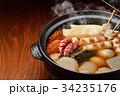 注意)湯気はレタッチ合成です。「土鍋で冬の定番料理おでん」イメージ。大根、玉子、さつま揚げ、牛すじ。 34235176