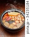 注意)湯気はレタッチ合成です。「土鍋で冬の定番料理おでん」イメージ。大根、玉子、さつま揚げ、牛すじ。 34235184