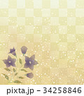 桔梗と石畳の背景模様 34258846