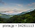 箱根大観山から、雲海の芦ノ湖と富士山 34261113