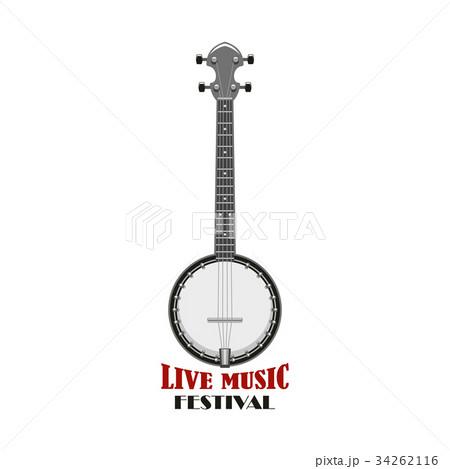 Music festival emblem design with banjo 34262116