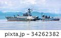Russian warship going along the coast 34262382
