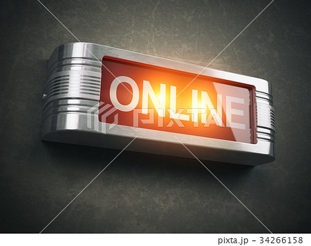 Online red glowing warning signboard 34266158