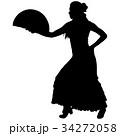 One black silhouette of female flamenco dancer 34272058