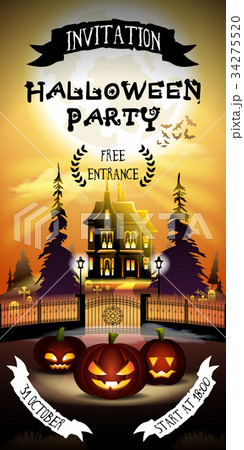 halloween invitation with free entrance のイラスト素材 34275520