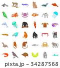 Wildlife icons set, cartoon style 34287568