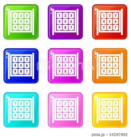 cubes with numbers on playground set 9のイラスト素材 34287892 pixta