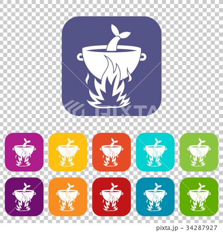 Fish soup on a fire icons set 34287927