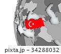Turkey on globe with flag 34288032