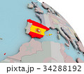 Map of Spain with flag 34288192