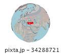 Turkey with flag on globe 34288721