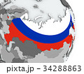 Map of Russia with flag 34288863