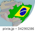 Brazil on globe with flags 34290286