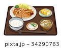 定食 生姜焼き定食 生姜焼きのイラスト 34290763