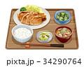 定食 生姜焼き定食 生姜焼きのイラスト 34290764