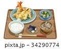 定食 天ぷら定食 天ぷらのイラスト 34290774