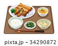 定食 春巻き 春巻き定食のイラスト 34290872