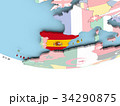 Map of Spain with flag on globe 34290875