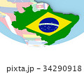 Map of Brazil with flag on globe 34290918
