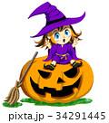 魔女 カボチャ ハロウィンのイラスト 34291445