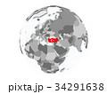 Turkey on globe isolated 34291638