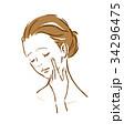 女性 肌トラブル ストレスのイラスト 34296475