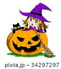 魔女 ハロウィン 黒猫のイラスト 34297297